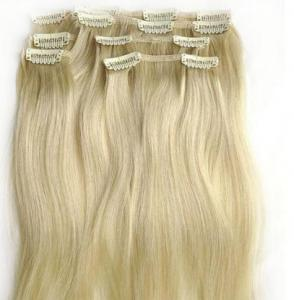 China Yellow Virgin Human Hair Extensions clip in , Elegant Virgin Russian Hair Wefts on sale