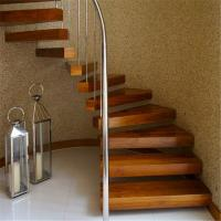 China Indoor prefabricated stairs steel 38mm wood treads floating stairs on sale