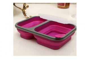 Quality Two Chamber Silicone Lunch Containers , Flat Lunch Box Containers With Dividers for sale