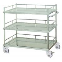 Instrument Stainless Steel Frame Medical Trolley Three Layers With Side Rail