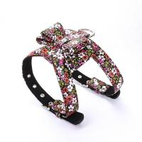 China No Pull Leather Adult Dog Walking Training Harness With Bow Floral Design on sale