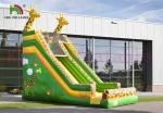 Green / Yellow Giraffe PVC Inflatable Dry Slide Customize Slide For Outdoor Activities