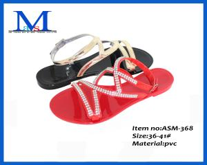 China Fashion cheap high quanlity PVC slippers low heel lady sandals ASM-368 36-41# on sale
