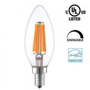 China Candle Shaped LED Energy Saving Light Bulbs , C35 LED Candelabra Bulbs E12 E14 Socket on sale