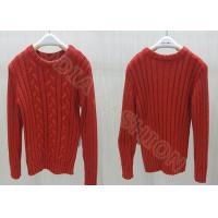 Red Acrylic Cable Knit Kids Holiday Sweaters Crew Neck Pullover For Girls