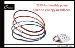 China Size Adjustable Custom Color Magnetic Power Balance Silicone Necklace on sale