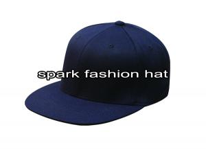 Quality Custom blue plain fitted flat brim hats for sale