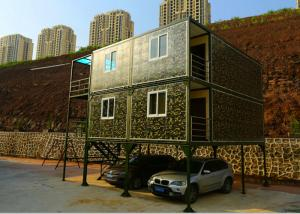 China Army Green Small Container Office Three Layers 2mm PVC Floor Panel With Garage on sale