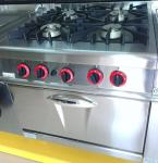 LPG / Natural Gas 4 Burner Cooking Range Impulsive Ignition Stainless Steel Gas Stove