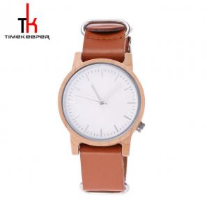 China Mens Wood Brown Leather Strap Watches Custom Logo Casual Style on sale