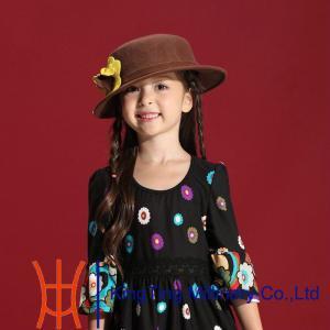 China Children Dark Grey Wool Felt Fedora Hat With Flower Trimming Onside on sale