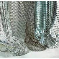 China Silver / Golden Wire Mesh Curtain Aluminum Metallic Sequined Fabrics Multi Shape on sale