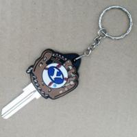 China Sport Theme Custom House Key Blanks With 3D Rubber Baseball Mitt Shaped Head on sale