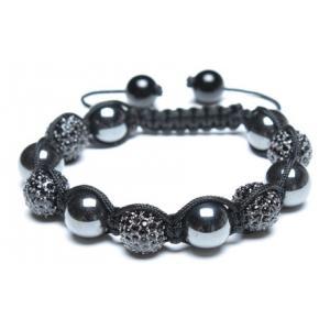 China Boule noire ronde personnalisée de fausse pierre de manchette de Shamballa d'hématite magnétique perlée de bracelets on sale