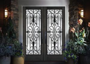 China Home Decration Tempered Wrought Iron Door Glass Silk Screening 22*64 Inch on sale