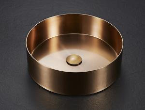 China Modern Stainless Steel Counter Top Gold Round Bathroom Sinks  Wholesale on sale
