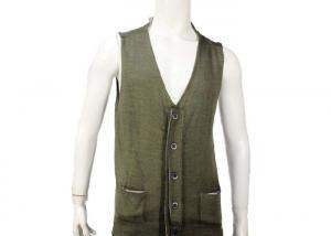China V Neck Button Plain Knitted Mens Sleeveless Cardigan Sweater Vest Dark Green on sale