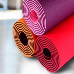 China Wholesale 1/4-Inch Double Layer Eco-friendly TPE Yoga Mat with Strap tpe yoga mat on sale