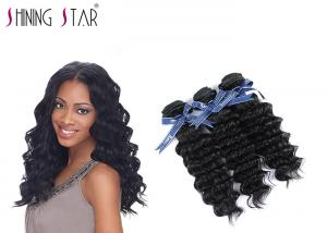 China 3 Bundles Virgin Deep Wave Brazilian Hair / Natural Black Remy Hair Weave on sale