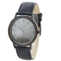 Quartz Mens Wrist Wood And Steel Watches With DIY Leather Strap , Custom Logo