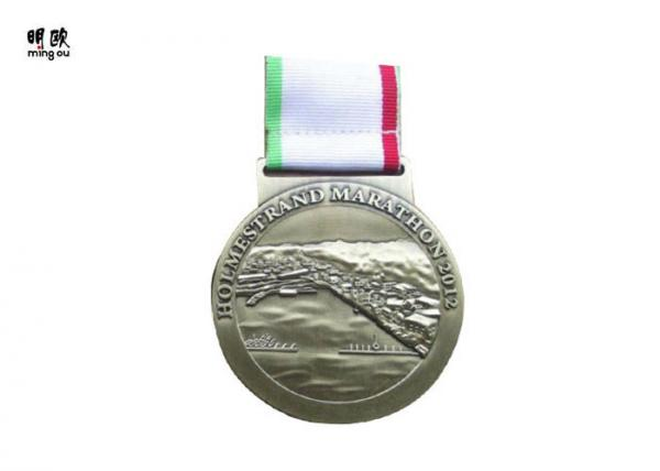3 Color Ribbon Custom Sport Medals 3d Embossed Logo Zinc