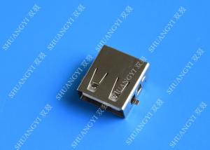 China DIP 180 Degree Jack Socket 4 Pin USB Charging Connector , 15mm USB 2.0 Female Type A Connector on sale