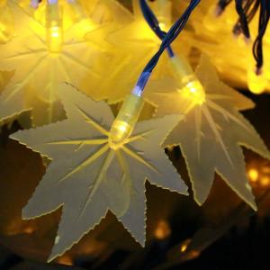 China 30 Yellow LED Maple Leaves Solar Energy Strings Lights on sale