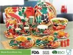 Round Shape Bamboo Fiber Dinnerware High Strength Fashionably Christmas Colors Design