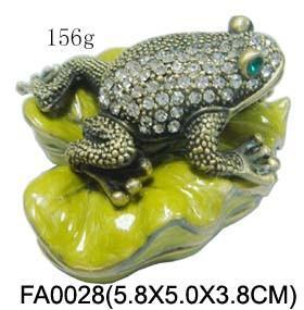 China New Bejeweled Rhinestone Crystal Enamel Frog Trinket Box on sale