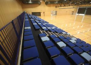 China Foldable Retractable Gymnasium Bleachers Fabric Upholstery For Sport Institutes on sale