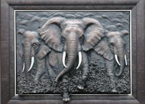 Quality Metal Wall Art Sculpture / Bronze Elephant Bas Relief Multi Function for sale