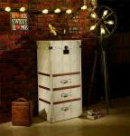 Retro Vintage Leather Storage Steamer Trunk With Drawer Chest Full Handcrafted