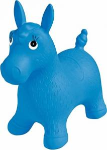 China Blue Inflatable Jumping Horse Ride on PVC Bouncing Animal Toys For Kids on sale