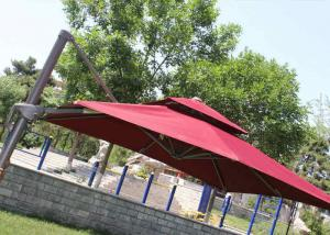 China 2.5m Mini Roma Cantilever Garden Umbrella With Marble Base , Red Double Layer on sale