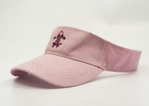 China Pink Embroidered Sport Sun Visor Hats For Kids , 100% Cotton 52 Cm on sale