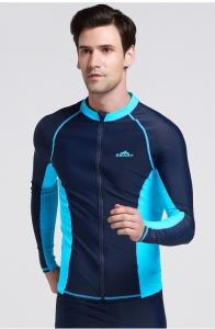 China Mens Long Sleeve Zip Front Rash Guard on sale