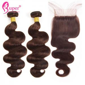 China Dark Brown Color 4 Human Hair Weave Extension With Closure Body Wave on sale