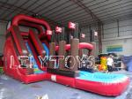 China Commercial Red Grey Inflatable Water Slide PVC Tarpaulin For Children wholesale