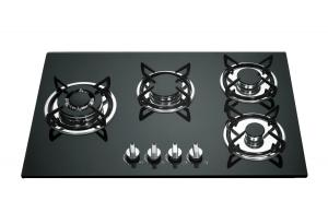 China Built In Gas Stove 4 Burner Glass Top With Cast Iron Pan Support on sale