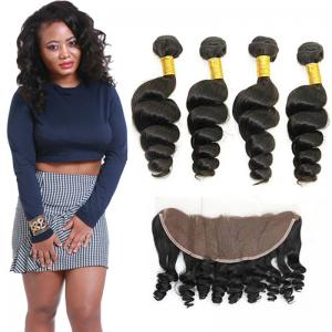 China Authentic 8A Loose Curly Indian Remy Hair Weave 4 Bundles With Frontal on sale