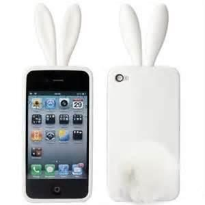 China lovely rabbit damp-proof silicone white color for iphone 5 cases, for apple iphone accessory for girls on sale
