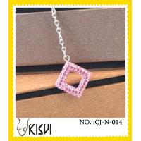 Low MOQ fashion pink square handcrafted crystal jewelry / shamballa necklace
