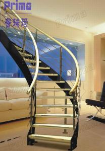Quality Custom Curved Staircase Wood / Carving Wooden Stair Railing /  Indoor Curved Stairs For Sale ...