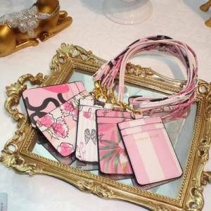China Victoria's Secret Business ID Badge Card Holder Credit Bank Card Neck Strap holders Bus ID purse with lanyard on sale
