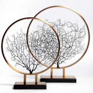 China Creative Tree Shape Art Metal Antique 580mm Home Statue Decor on sale