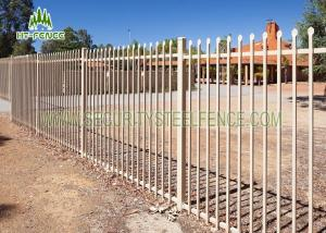 China 2.1 × 2.4m Garrison Security Steel Fence Spear Top Black For Community / Gardens on sale