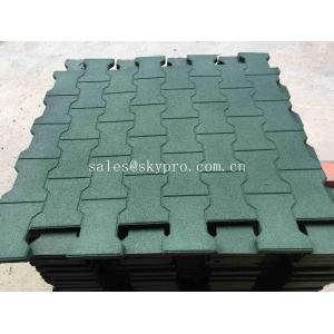 China Driveway Rubber Patio Pavers / Anti - Slip Recycled Rubber Flooring Thickness 15-100mm on sale