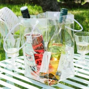 China Anti-Freezing Clear Vinyl Champagne Cooler Ice Bag Perfect for Parties, and Restaurant on sale