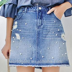 China Custom Women A LINE Damaged Denim Skirt With Pearls And Frayed Hem on sale