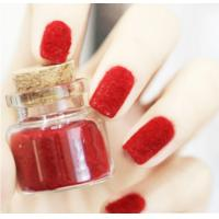 Custom Red Flocking Powder Nail Art Pretty Kids Finger False Nail With Pile Coating
